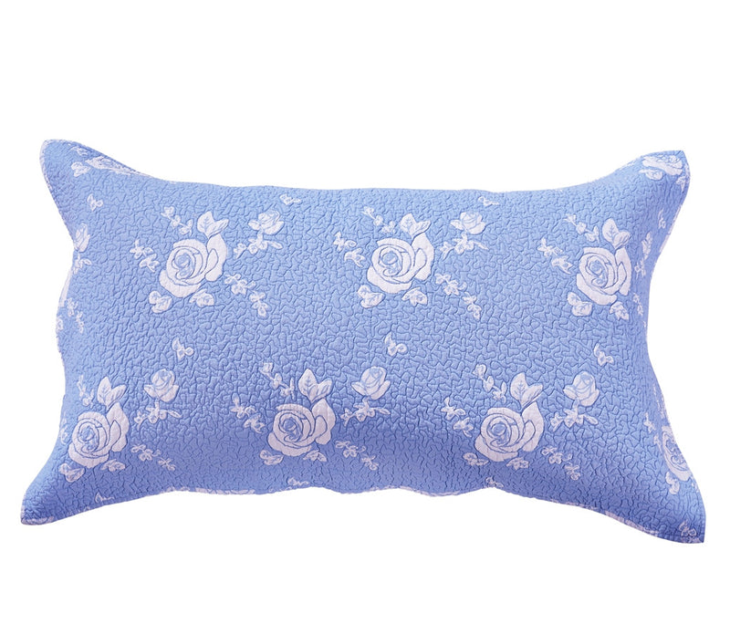 Rose Melody Luxury Hand Quilted Pure Cotton Light Blue Pillow Sham - Calla Angel  - 6
