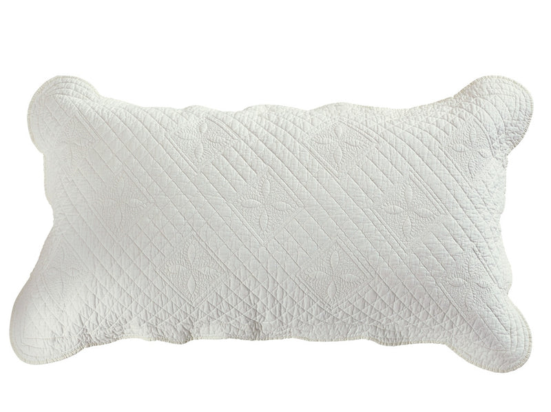 Sage Garden Luxury Pure Cotton Quilted Ivory Pillow Sham - Calla Angel  - 6