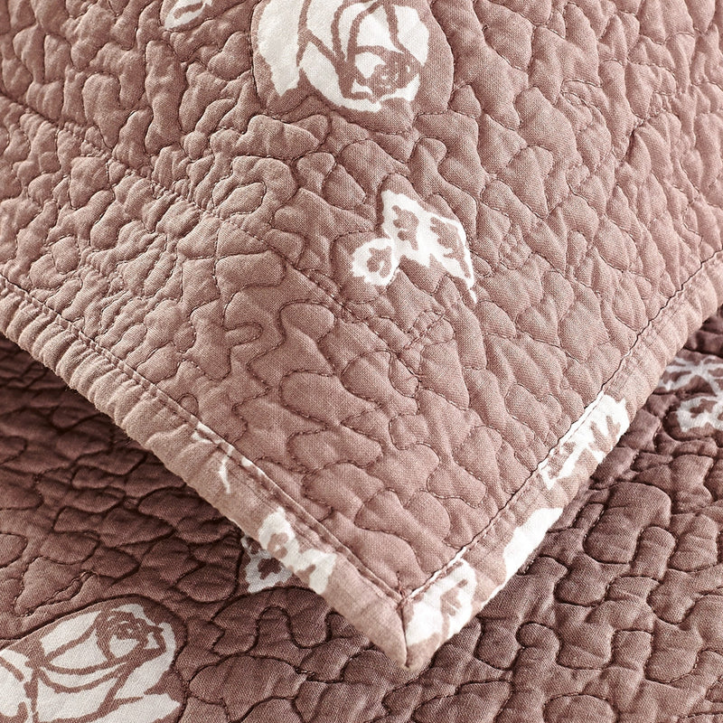 Rose Melody Luxury Hand Made Pure Cotton Marsala Quilt - Calla Angel  - 6