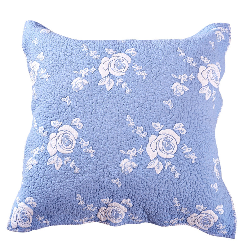 Rose Melody Luxury Hand Quilted Pure Cotton Light Blue Pillow Sham - Calla Angel  - 4