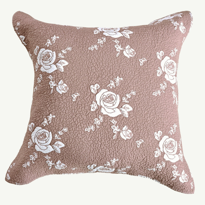 Rose Melody Luxury Hand Quilted Pure Cotton Marsala Pillow Sham - Calla Angel  - 4