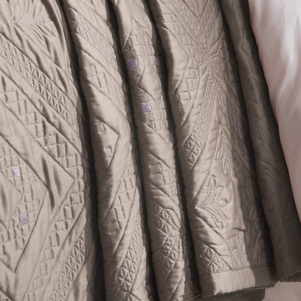 Fern Crystal Luxury Khaki Quilt - Calla Angel  - 2
