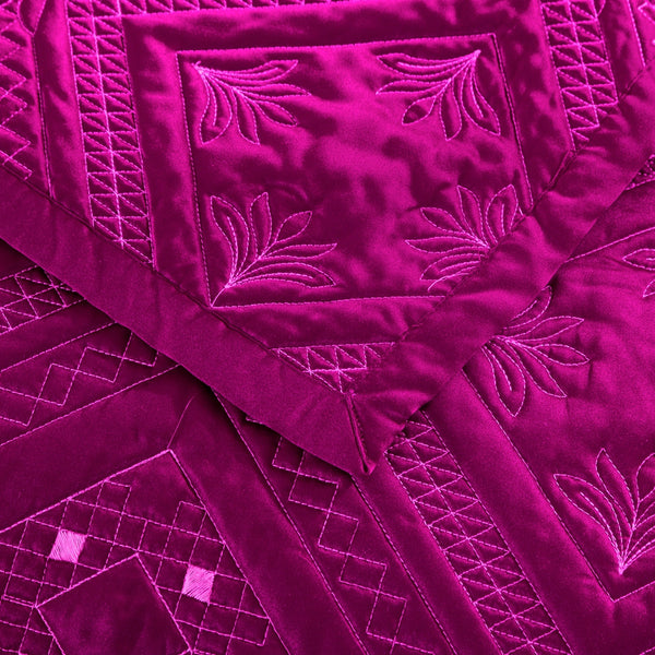 Fern Crystal Luxury Fuchsia Quilt - Calla Angel  - 2