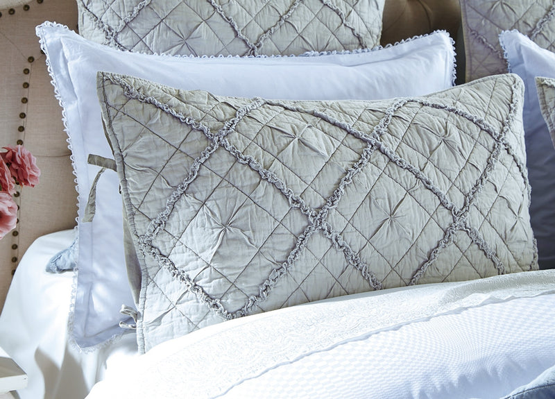Diamond Applique Luxury Fog Pillow Sham - Calla Angel  - 3