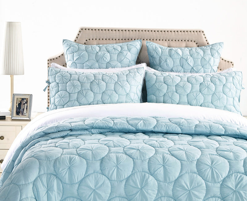 Dream Waltz Luxury Pacific Blue Quilt - Calla Angel  - 2