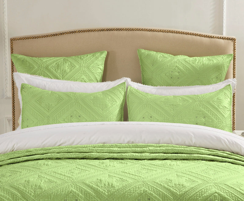 Fern Crystal Luxury Lime Pillow Sham - Calla Angel  - 3