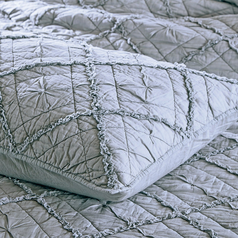Diamond Applique Luxury Fog Pillow Sham - Calla Angel  - 5