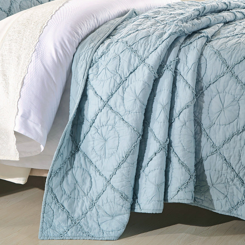 Country Idyl Luxury Pacific Blue Quilt - Calla Angel  - 3