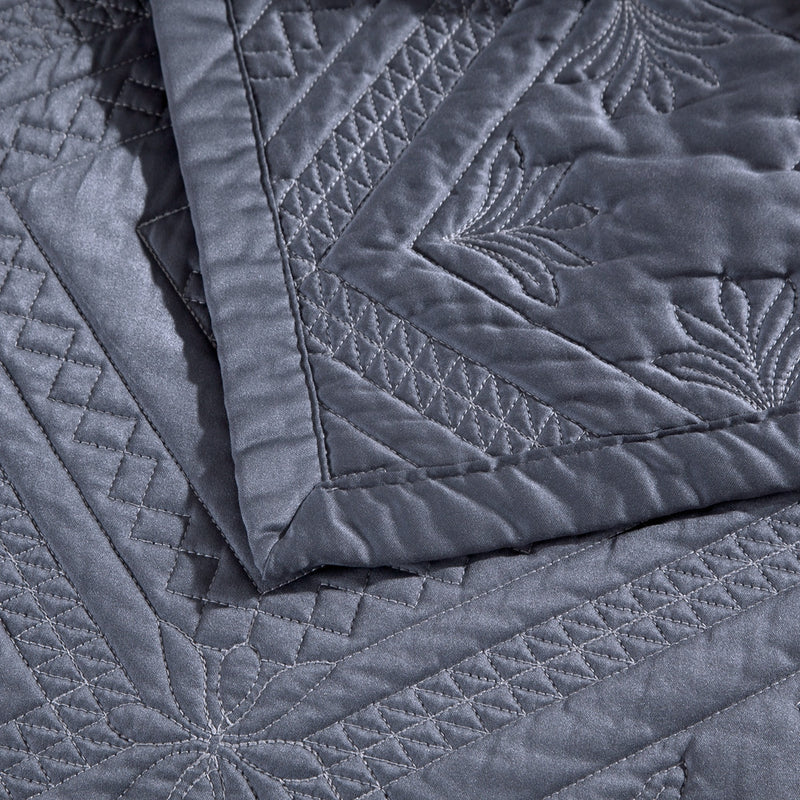 Fern Crystal Luxury Graphite Quilt - Calla Angel  - 3