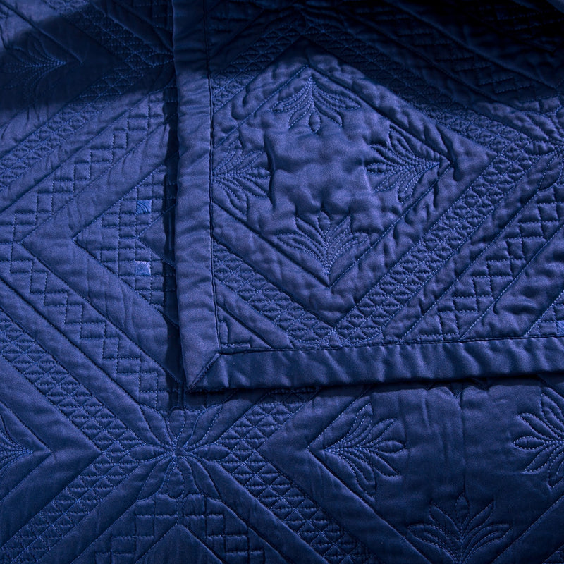 Fern Crystal Luxury Navy Blue Quilt - Calla Angel  - 3