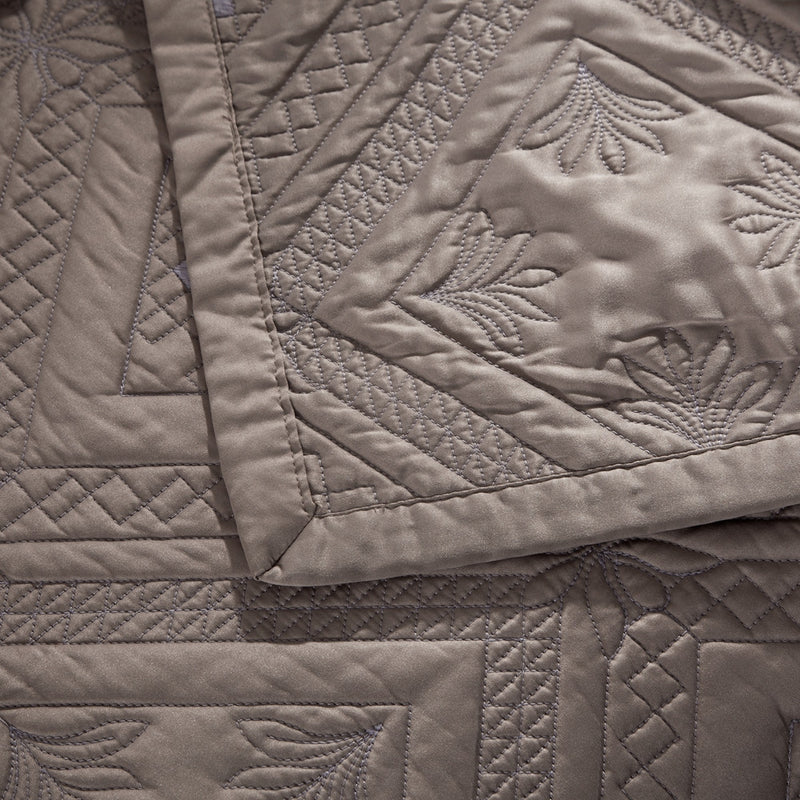 Fern Crystal Luxury Khaki Quilt - Calla Angel  - 3