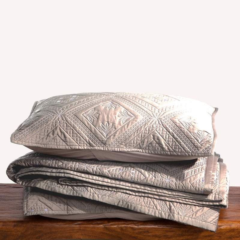Fern Crystal Luxury Khaki Pillow Sham - Calla Angel  - 6