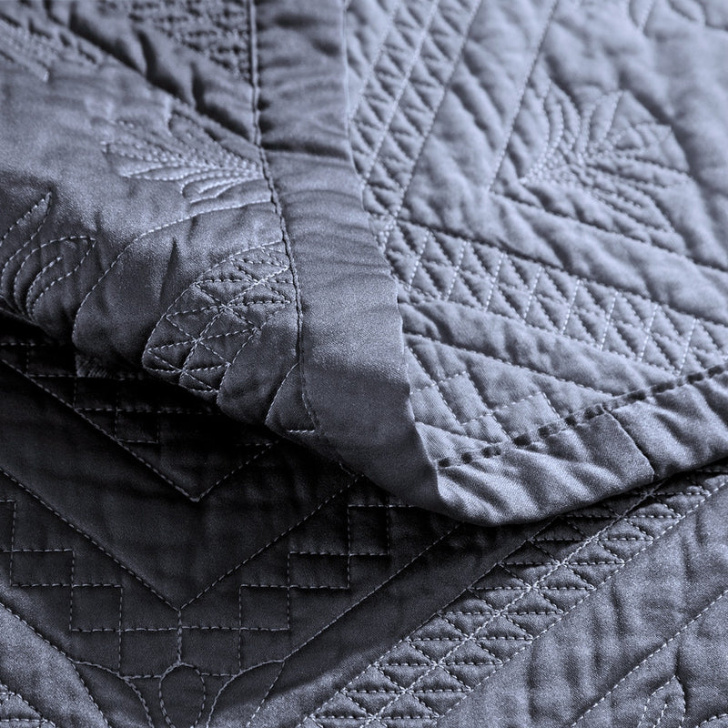 Fern Crystal Luxury Graphite Quilt - Calla Angel  - 4