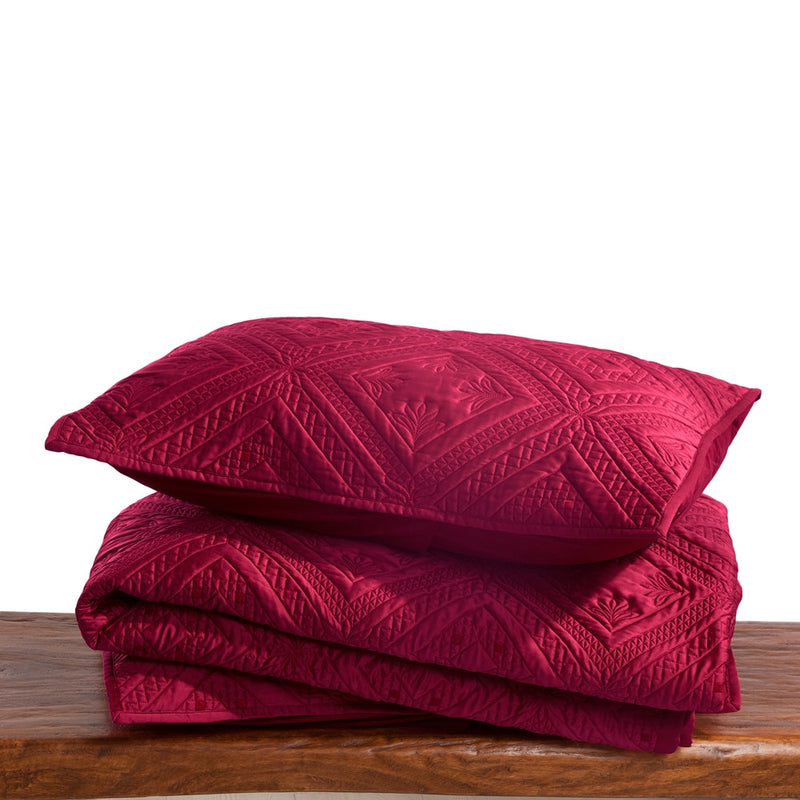 Fern Crystal Luxury Cherry Red Pillow Sham - Calla Angel  - 6