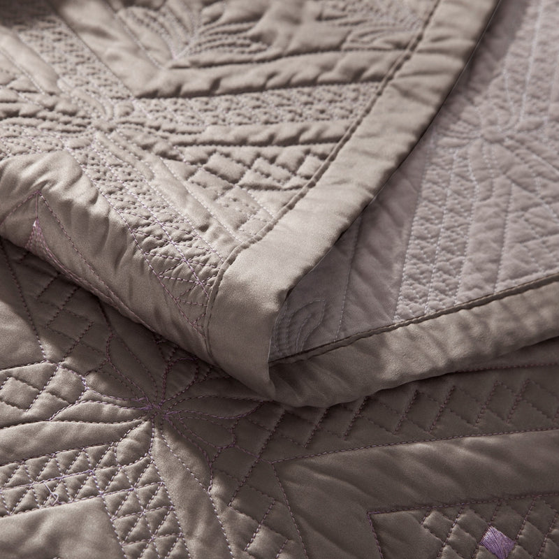 Fern Crystal Luxury Khaki Quilt - Calla Angel  - 4