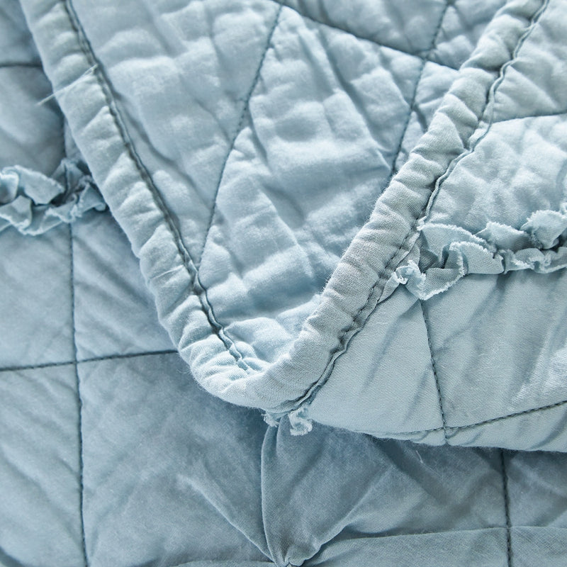 Diamond Applique Luxury Pacific Blue Quilt - Calla Angel  - 4