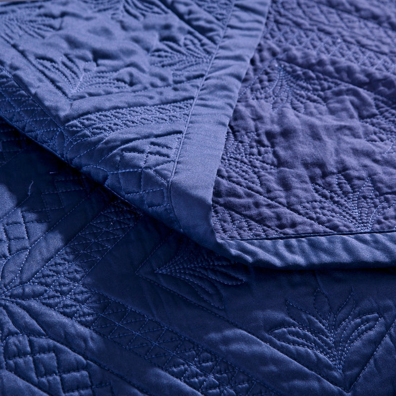 Fern Crystal Luxury Navy Blue Quilt - Calla Angel  - 4