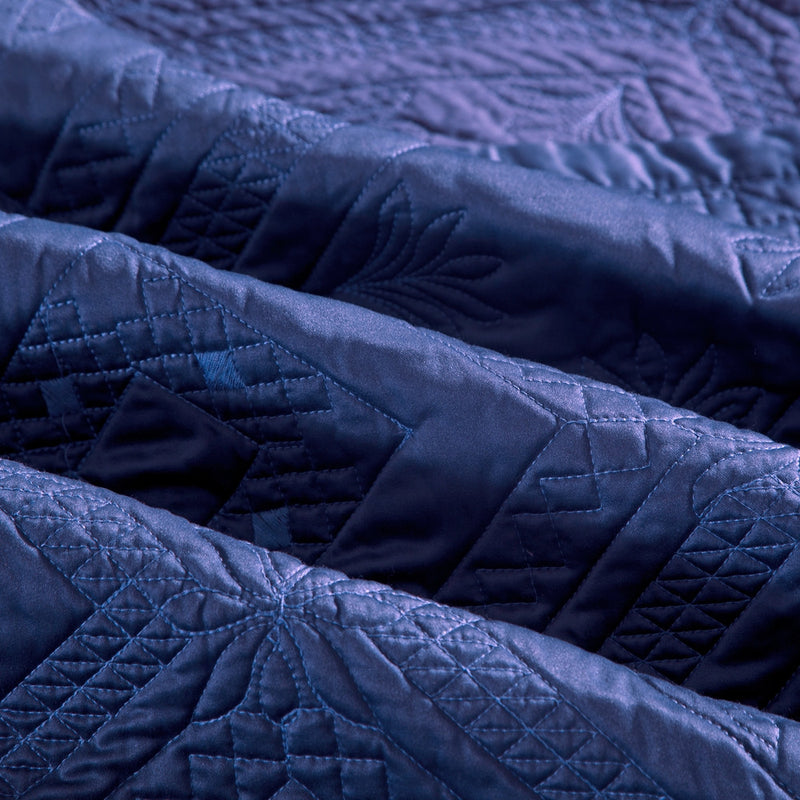 Fern Crystal Luxury Navy Blue Quilt - Calla Angel  - 5