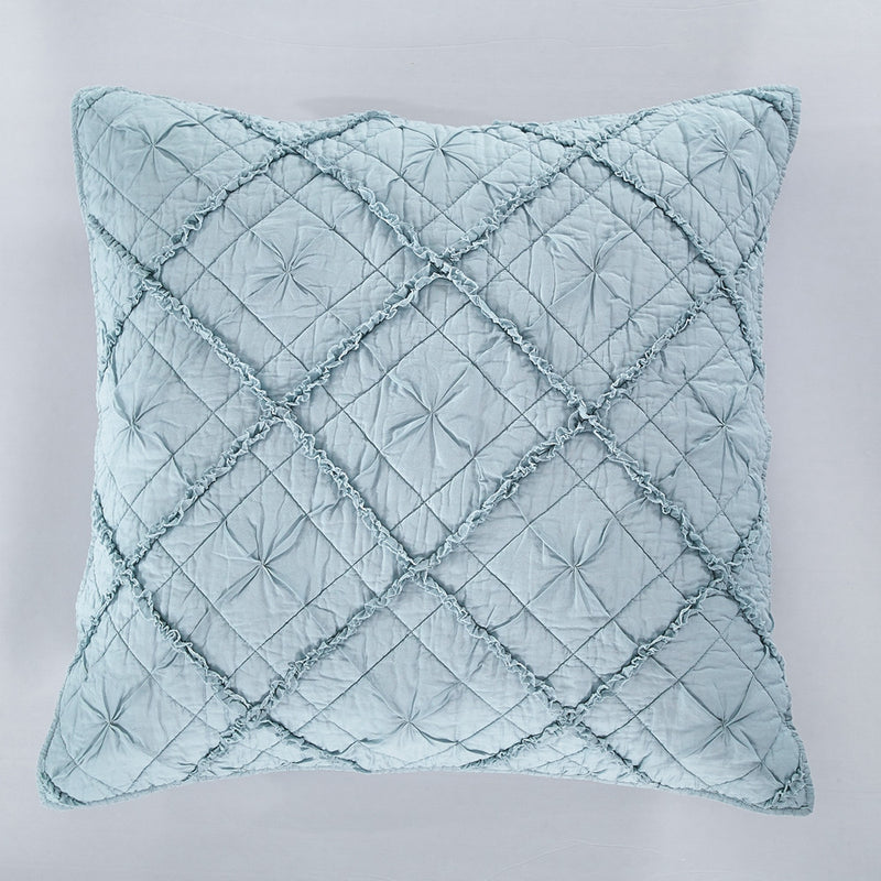 Diamond Applique Luxury Pacific Blue Pillow Sham - Calla Angel  - 4
