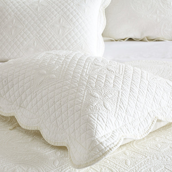 Sage Garden Luxury Pure Cotton Quilted Ivory Pillow Sham - Calla Angel  - 5