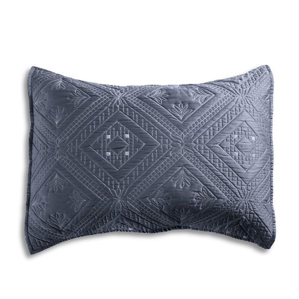 Fern Crystal Luxury Graphite Pillow Sham - Calla Angel  - 2