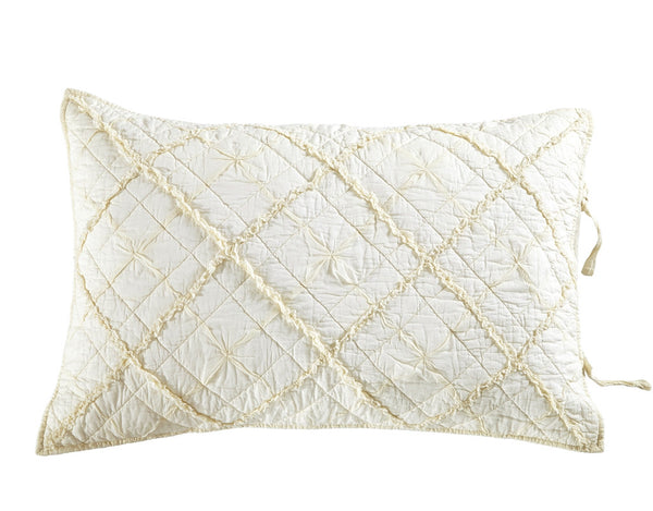Diamond Applique Luxury Ivory Pillow Sham - Calla Angel  - 2