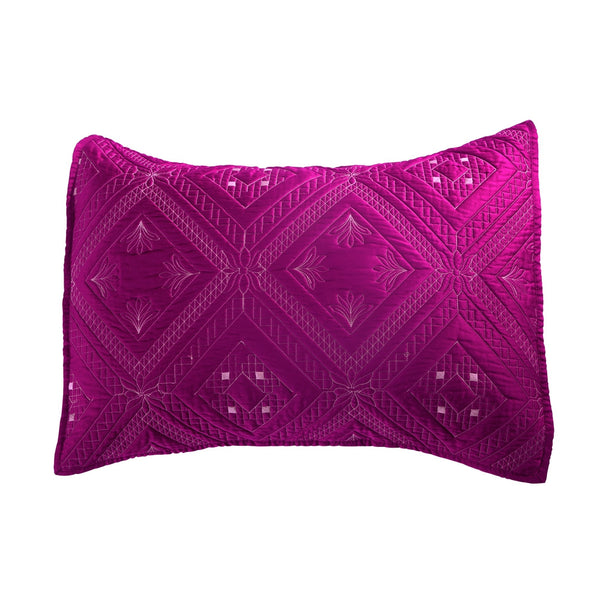 Fern Crystal Luxury Fuchsia Pillow Sham - Calla Angel  - 2
