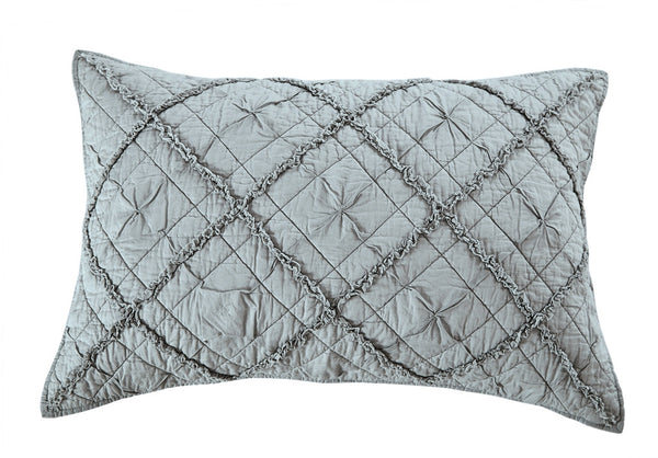 Diamond Applique Luxury Fog Pillow Sham - Calla Angel  - 2