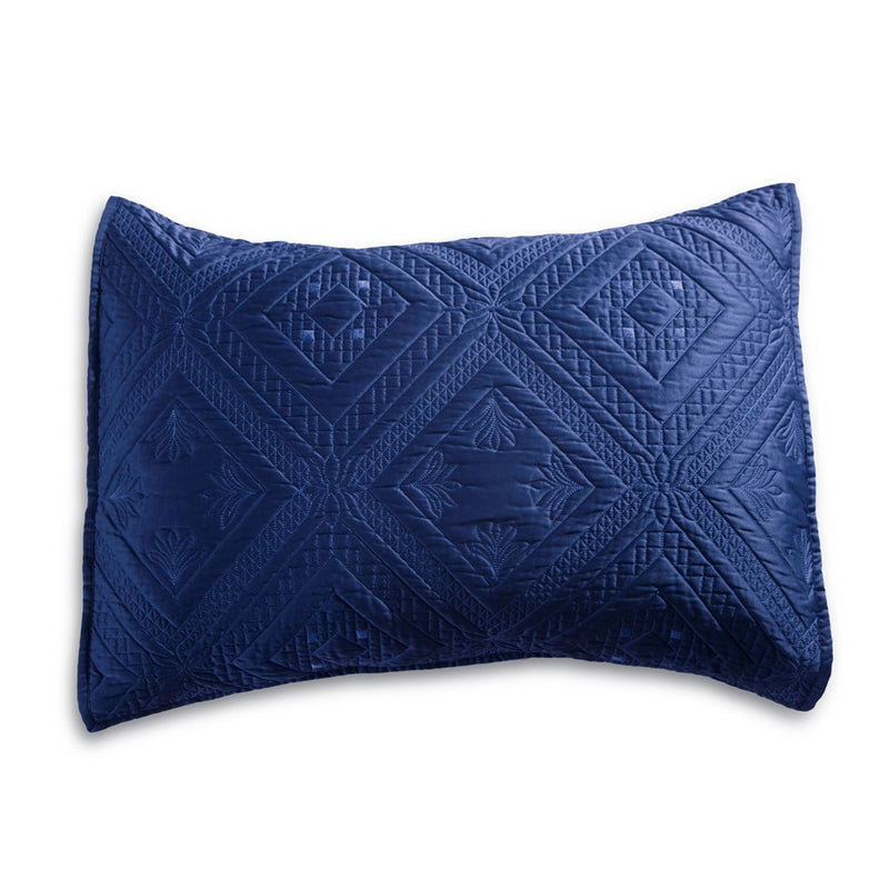 Fern Crystal Luxury Navy Blue Pillow Sham - Calla Angel  - 2