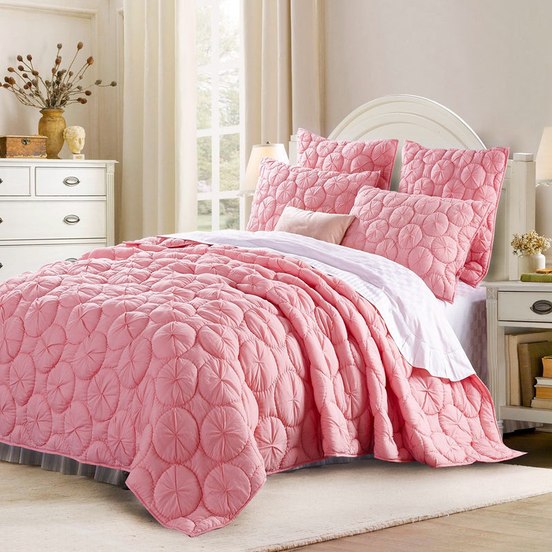 Dream Waltz Luxury Pure Cotton Cameo Pink Quilt - Calla Angel  - 1