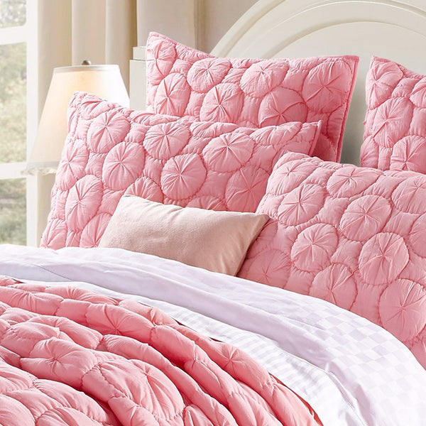Dream Waltz Luxury Pure Cotton Quilted Cameo Pink Pillow Sham - Calla Angel  - 1