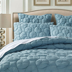Dream Waltz Luxury Pure Cotton Quilted Fountain Blue Pillow Sham - Calla Angel  - 1