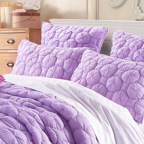 Dream Waltz Luxury Pure Cotton Quilted Lavender Pillow Sham - Calla Angel  - 1