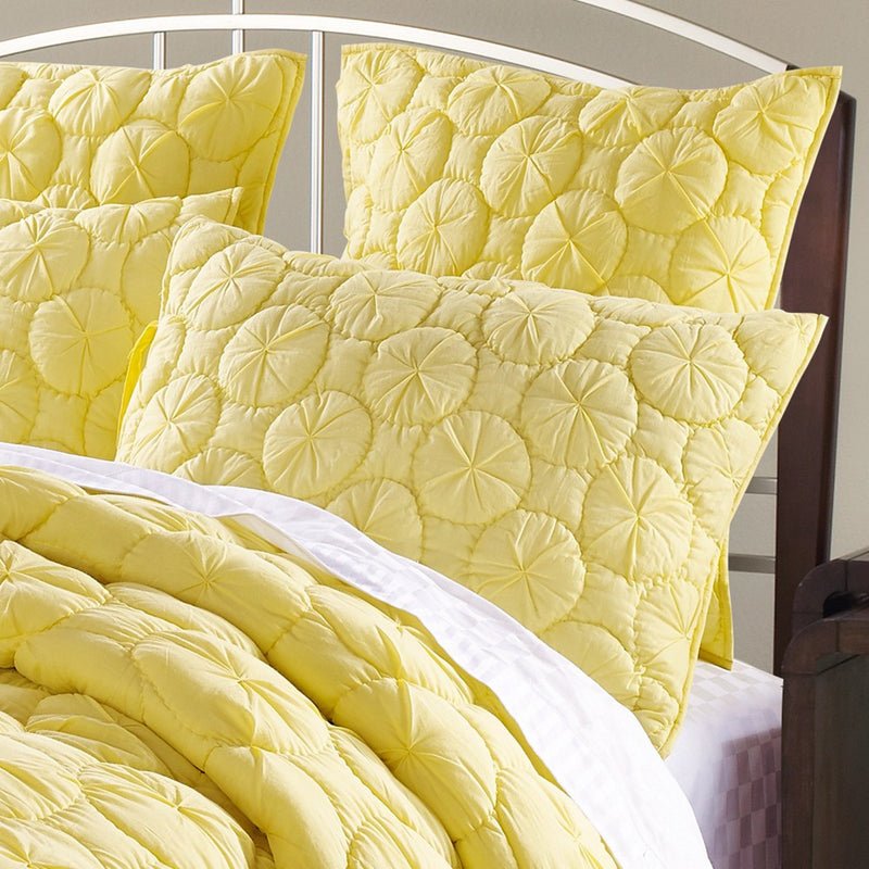 Dream Waltz Luxury Pure Cotton Quilted Lemon Pillow Sham - Calla Angel  - 1