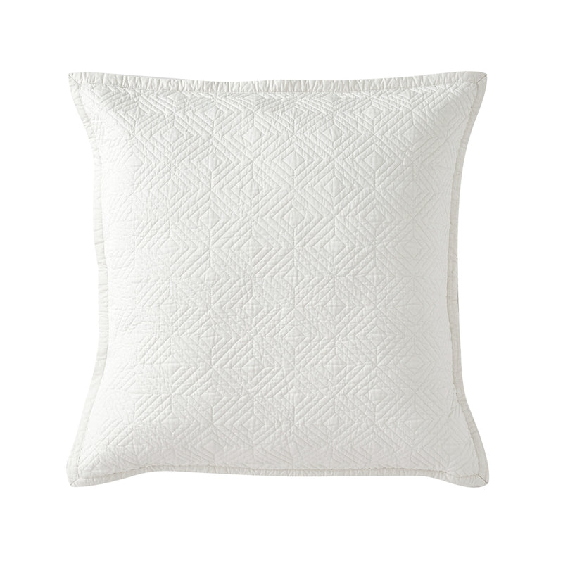 Evelyn Stitch Diamond Luxury Pure Cotton Quilted Pillow Sham, Ivory
