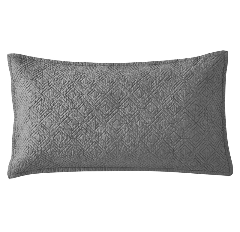 Evelyn Stitch Diamond Luxury Pure Cotton Quilted Pillow Sham, Gray