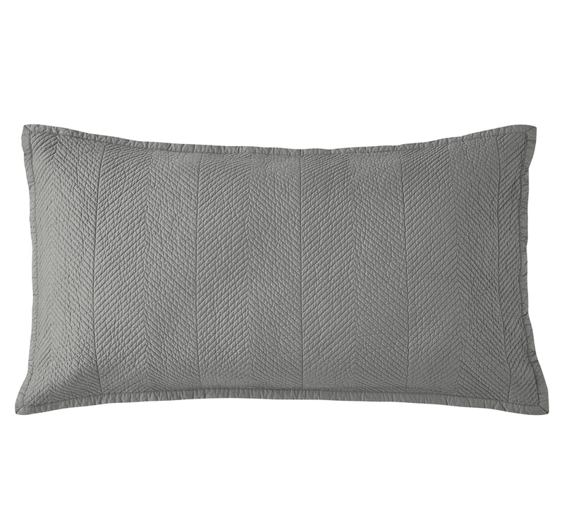 Evelyn Stitch Chevron Luxury Pure Cotton Quilted Pillow Sham, Gray