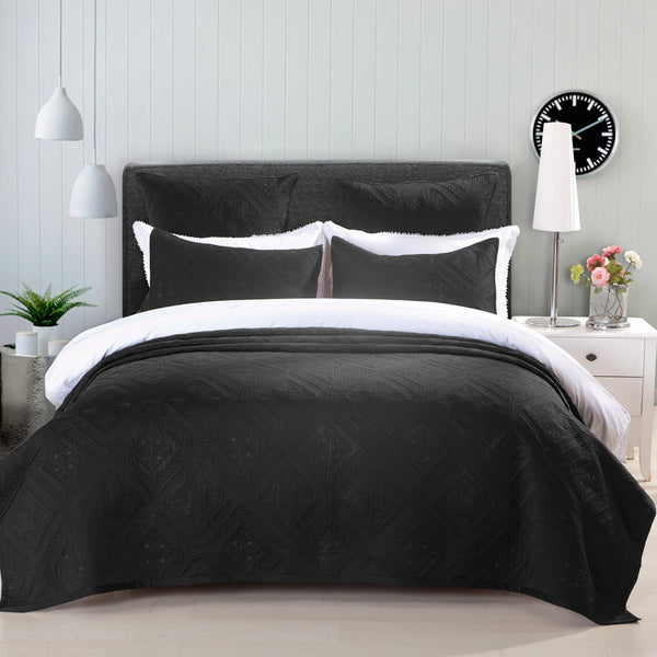 Fern Crystal Luxury Black Quilt - Calla Angel  - 1