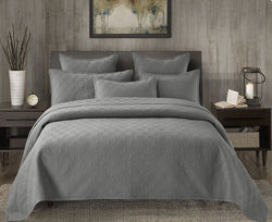 Evelyn Stitch Diamond Luxury Pure Cotton Quilt, Gray
