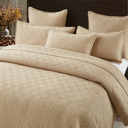 Evelyn Stitch Diamond Luxury Pure Cotton Quilted Pillow Sham, Sand