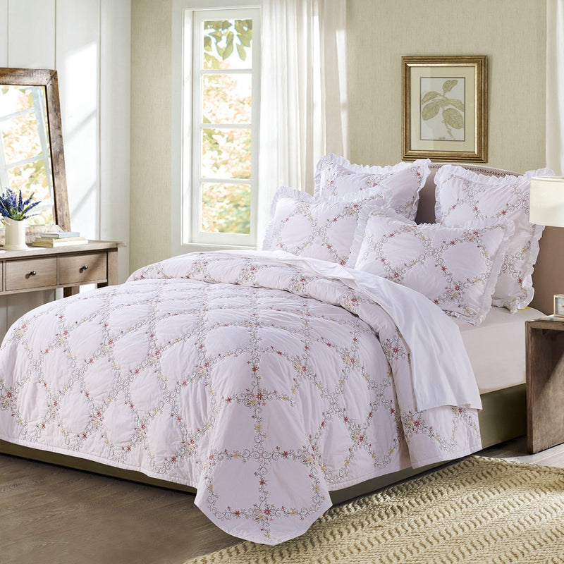 Orchard Mist Luxury White Quilt - Calla Angel  - 2