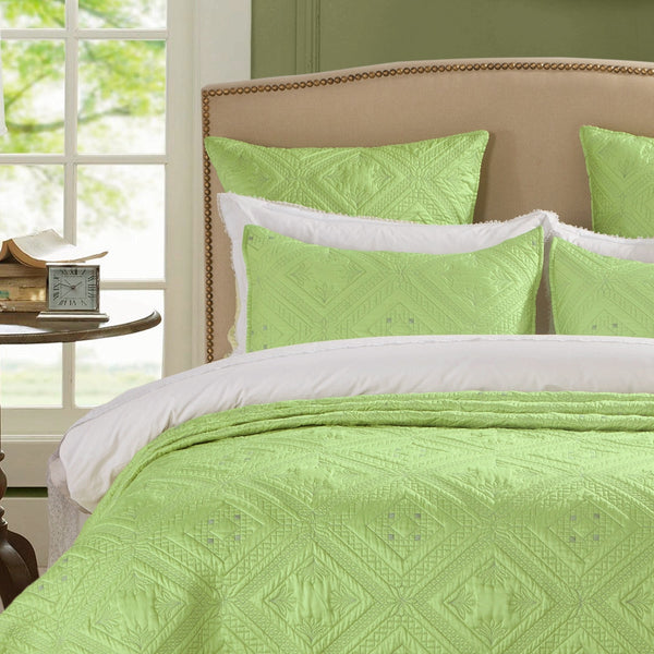 Fern Crystal Luxury Lime Pillow Sham - Calla Angel  - 1