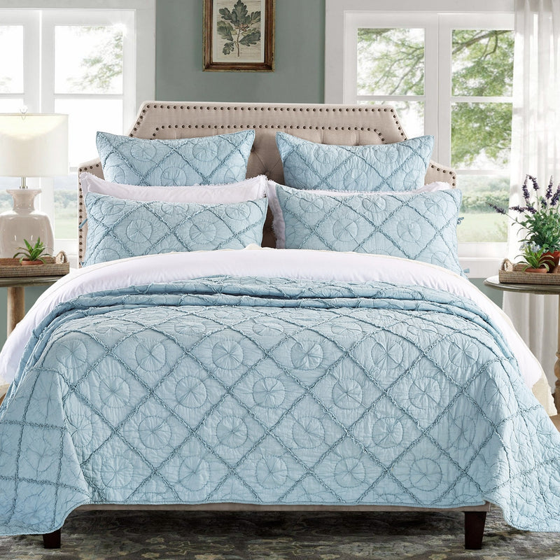 Country Idyl Luxury Pacific Blue Quilt - Calla Angel  - 1
