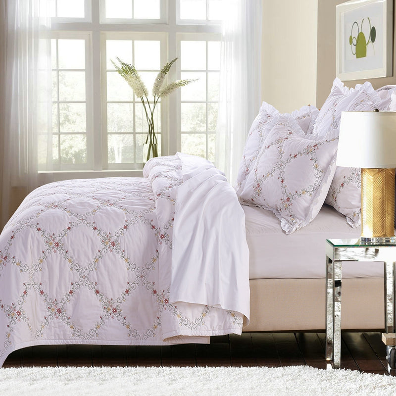 Orchard Mist Luxury White Quilt - Calla Angel  - 3