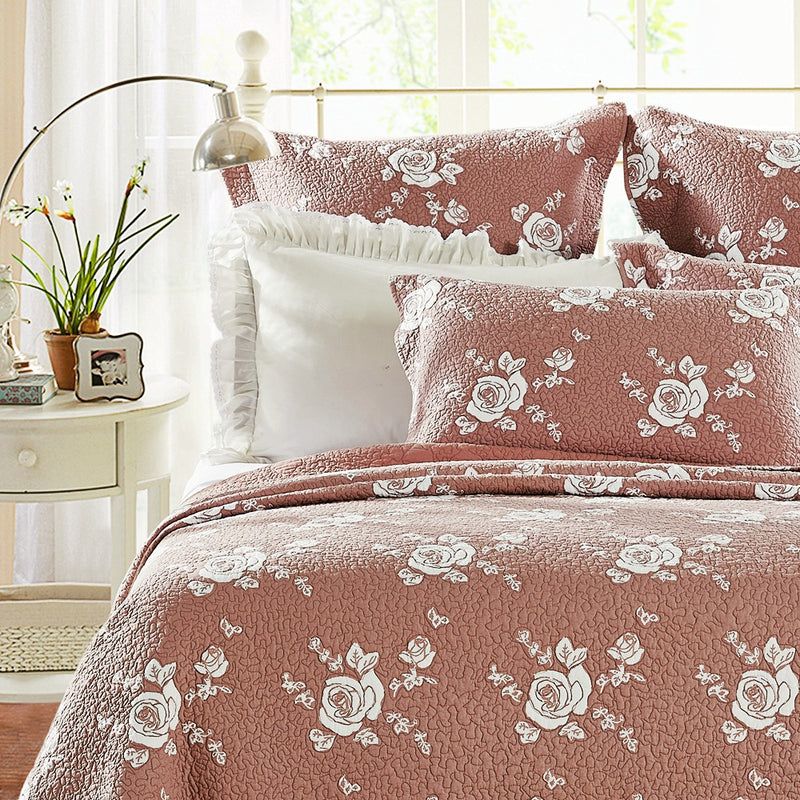 Rose Melody Luxury Hand Quilted Pure Cotton Marsala Pillow Sham - Calla Angel  - 1