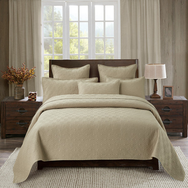 Evelyn Stitch Diamond Luxury Pure Cotton Quilt, Sand