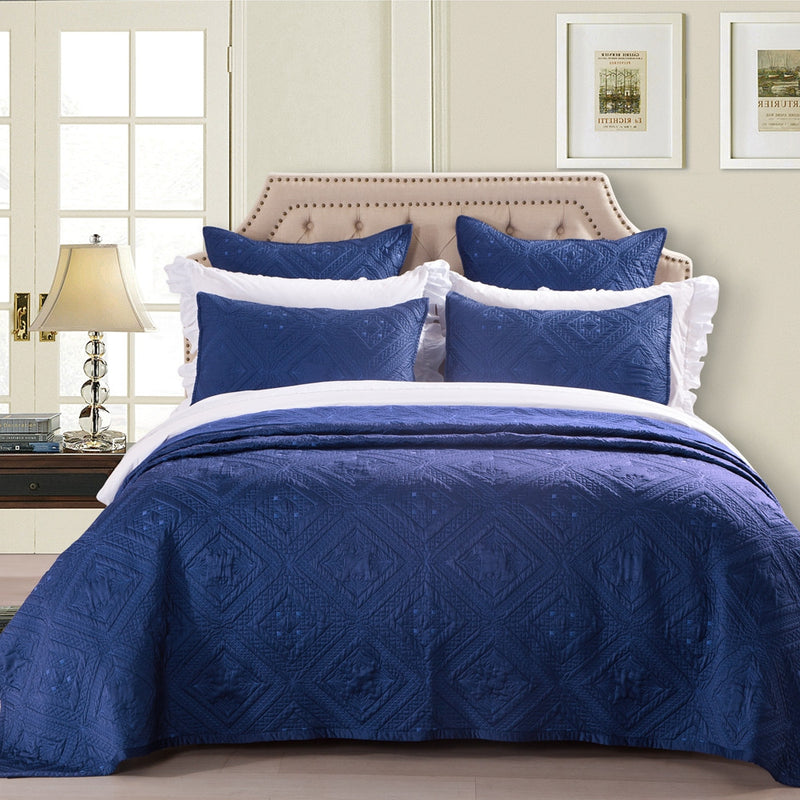 Fern Crystal Luxury Navy Blue Quilt - Calla Angel  - 1