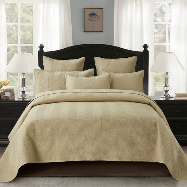 Evelyn Stitch Chevron Luxury Pure Cotton Quilt, Sand