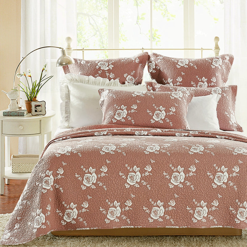 Rose Melody Luxury Hand Made Pure Cotton Marsala Quilt - Calla Angel  - 1