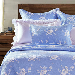Rose Melody Luxury Hand Quilted Pure Cotton Light Blue Pillow Sham - Calla Angel  - 1